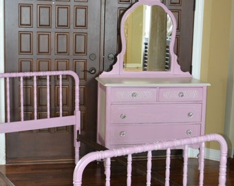 Pink & White vintage Painted Dresser, Mirror, Jenny Lynn twin Bed