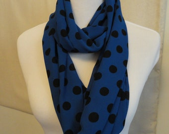 Royal Blue with Black Polka Dots Infinity Scarf