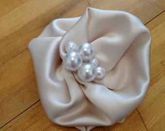 Champagne Satin & Pearl Flower Hair Clip