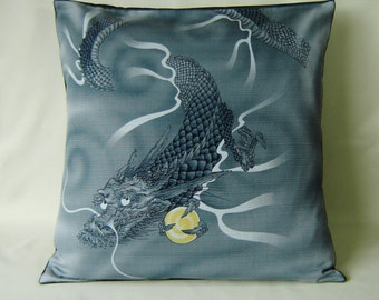 "Japanese Furoshiki Oriental 'Dragon' Cushion Cover 18.5"" x 18.5"""
