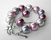 Bracelet and earrings set pink, grey, and mauve glass pearls with antique silver flower toggle clasp