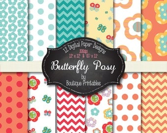 Butterfly Posy digital papers - 12x12 and 8.5x11 300 dpi