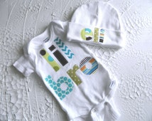 Baby Boy Bodysuit and Beanie, Newborn Onesie, Appliqued Onesie, Take Home Outfit, Personalized
