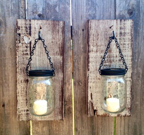 Diy Mason Jar Wall Sconces : Light gray Barn wood mason jar wall sconces