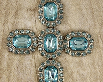 """Light """"Blue Topaz"""" Rhinestone Buttons -10 Acrylic Rhinestone Buttons Surrounded by smaller same color Topaz rhinestones - 25mm"""