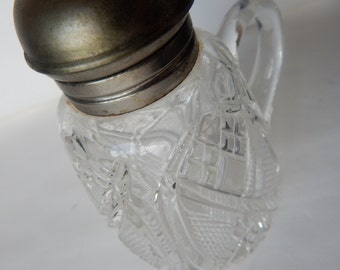 Maple Syrup Pitcher Pressed Cut Glass with Metal Dome Top with Lid
