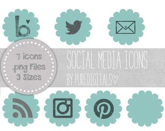 Teal Social Media Icons, Blog Buttons, Social Media Buttons, Cute Social Media Buttons, Teal Blog Buttons, Website Icons