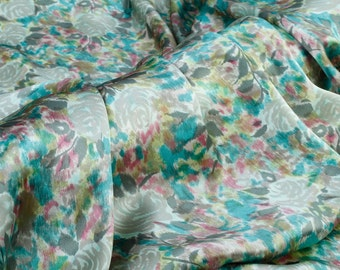 Pure mulberry silk crepe satin plain fabric—floral printing for dress, skirt, pants, shirt by the yard