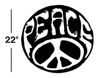 Peace Sign Decal sticker wall art car graphics room decor emo goth gothic metal AA90