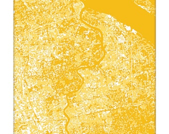 Shanghai Cityscape Art Print / China Map Art Abstract Aerial Poster / 8x10 / Choose your Color
