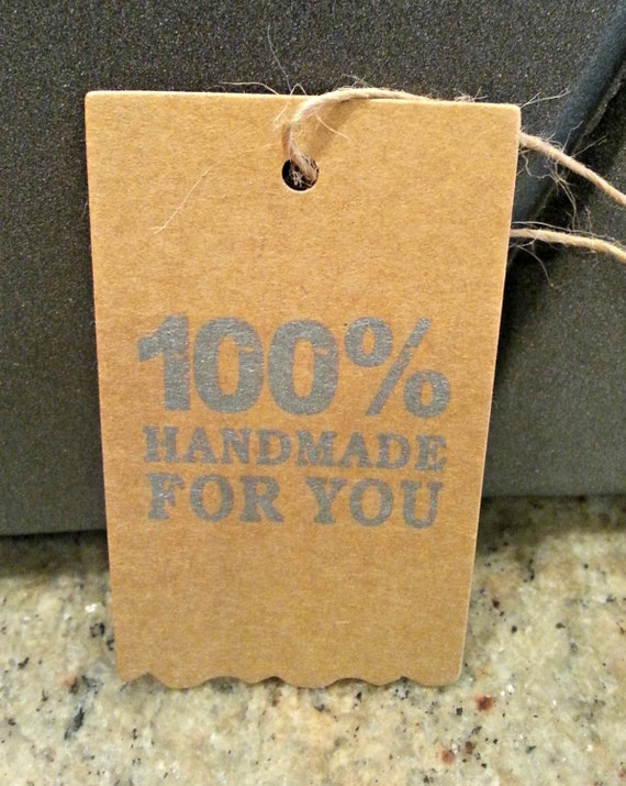 Kraft tags 100 handmade for you crafts homemade by for Custom tags for crafts