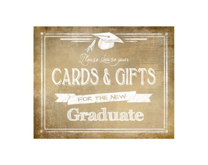 Please leave your CARDS & GIFTS for the Graduate digital download - Graduation Sign - Vintage Graduation Collection