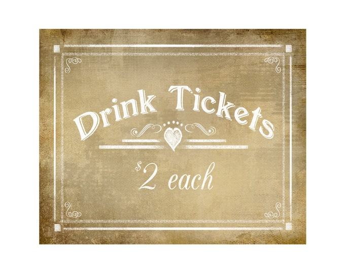 Vintage Style Printable Drink Tickets Bar Sign - instant download digital file - DIY - Vintage Heart Collection