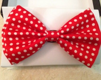 Polk A Dot Bow Tie / Necktie Red and White