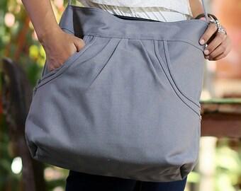 FERN / Dark Grey / Lined with Beige / Ship in 7 days // Diaper bag / Shoulder bag / Tote bag / Purse / Gym bag / New mom