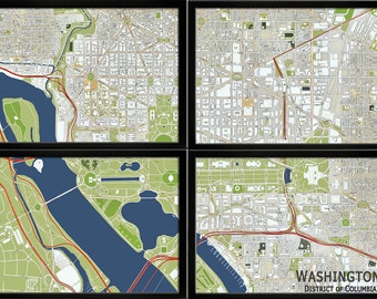 Map of Washington DC, Panel Map, Divided Map, Washington DC Map, Washington DC Print, 4 Section Wall Map, National Mall