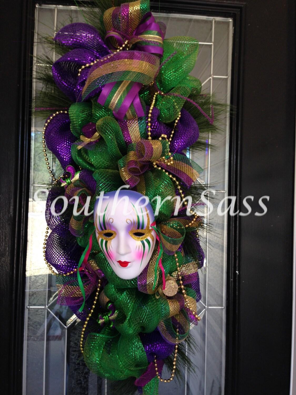 Mardi Gras Deco Mesh Swag Wreath Door Hanger Decoration