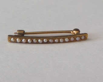 Antique 14K Solid Gold Seed Pearl Brooch Pin