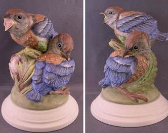Porcelain Bird Figurine Fledgling Western Bluebirds by Edward Marshall Boehm Studios, USA