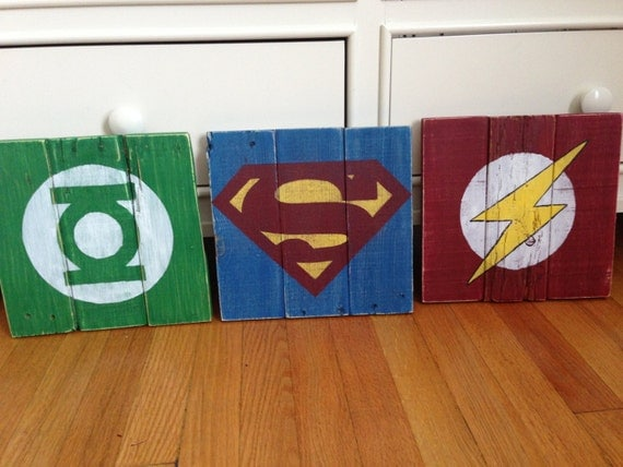 set of 3 flash superman green lantern symbols pallet wood repurposed