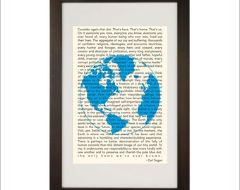 Science art - Cosmology - Carl Sagan Pale Blue Dot inspirational quote poster typography print on paper or canvas up to A0 size