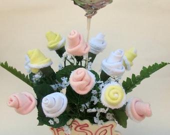 It's  a Girl Baby Shower centerpiece, Baby Girl Gift, Baby Girl Flower Centerpiece, Welcome Home Baby, New mom gift, Flower Socks Bouquet