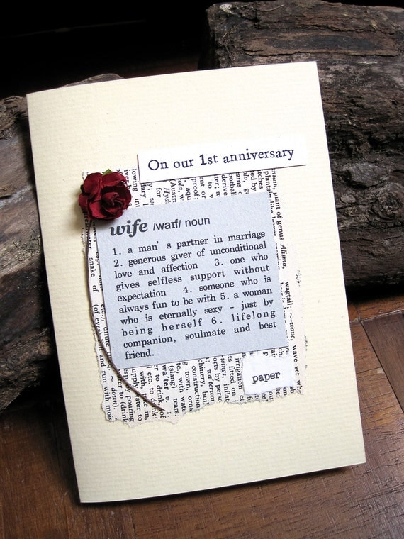1st anniversary card wife definition first wedding anniversary for First wedding anniversary gift for wife
