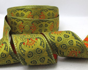 2 3/16 Inches Colorful Woven Embroidery Trim|Wide Trim|Green|Olive Green|Curtain Decoration|Supplies|Ribbon Trim|Clothing|Cushion Cover