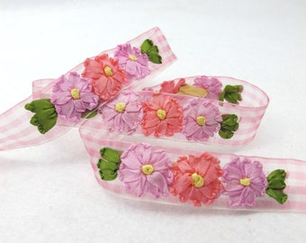5 Colors|3/4 inch Embroidered Floral Checkered Ribbon Trim|Three Flowers in a Row|Unique|Colorful|Woven Chiffon Organza Ribbon