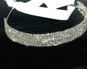 wedding rhinestone headband, prom rhinestone headband, bridal crystal headpiece, rhinestone hair accessory, bridal headband