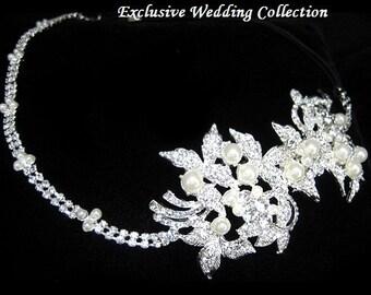 ivory pearl wedding headband, wedding pearl headpiece, pearl wedding hair accessory,  ribbon bridal headband, beaded headband