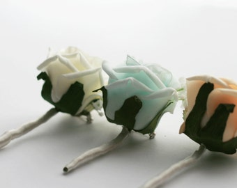 Boutonniere- Groom and groomsmen boutonniere, Foam Flower, Button hole, Wedding Flowers