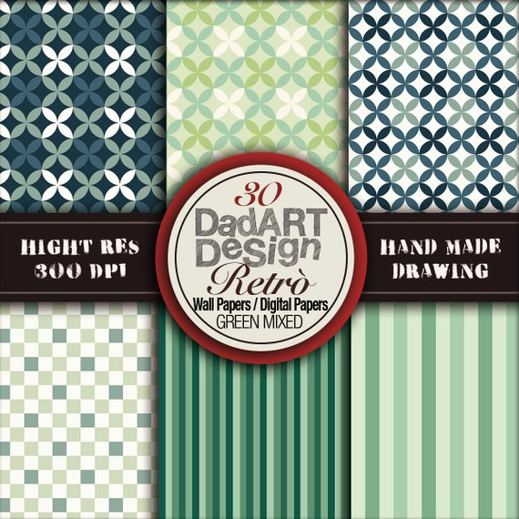30 Retro Green Pattern seamless digital papers / by DADARTDESIGN