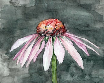 "Coneflower Painting - Print from Original Watercolor Painting, ""One Coneflower"", Garden Art, Pink Flower"