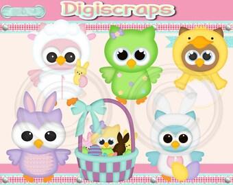 Easter Owls digital Clip Art Set - Clipart scrapbooking set downloadable image