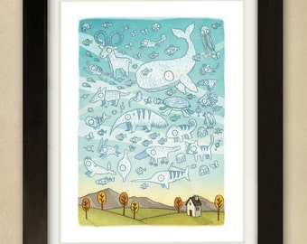 Cloudy Sky - Children's Art Print