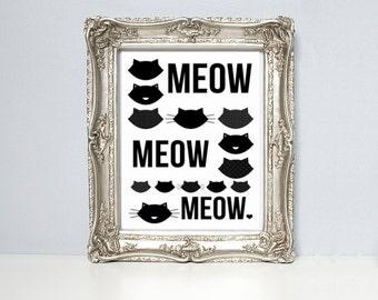 Cat illustration print, Black and white, kittens, meow, meow, meow