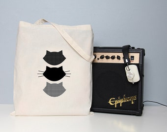 Cat tote bag, tote bag, cat book bag, school bag, totes, cotton handbag, shopper, cat bag, cat illustration, kitten tote, black tote bag