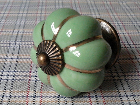 Drawer Knobs / Dresser Knob Pulls Handles / Green Ceramic