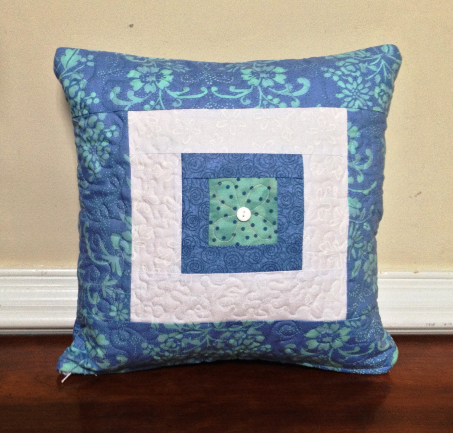 White Quilted Decorative Pillows : Blue and white quilted pillow cover Quilted pillow cover 14