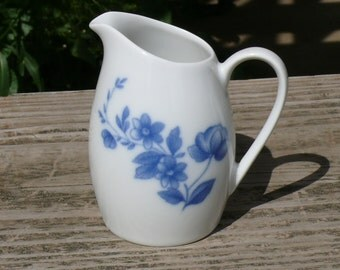 Blue and White Creamer or Pitcher Arzberg Midnight Rose Germany