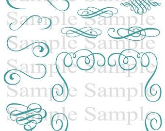 Turquoise Swirly Flourish Swirls Wedding Clipart INSTANT DOWNLOAD Swirl Clip Art Wedding Digital Clip Art Flourish Clip Art Calligraphy