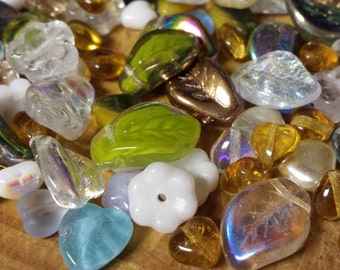 33 grams Czech Pressed Glass Hearts, Flowers, and Leaves Super Bead Soup Mix