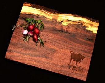 Personalized Cutting Board 20x12 Live Edge Black Walnut w/ Feet by OSOhome Custom Wedding Anniversary Ecofriendly Gourmet Bull Charcuterie