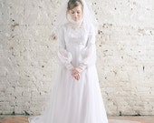 1970's Vintage Empire Line Maxi Wedding Gown and Veil UK8