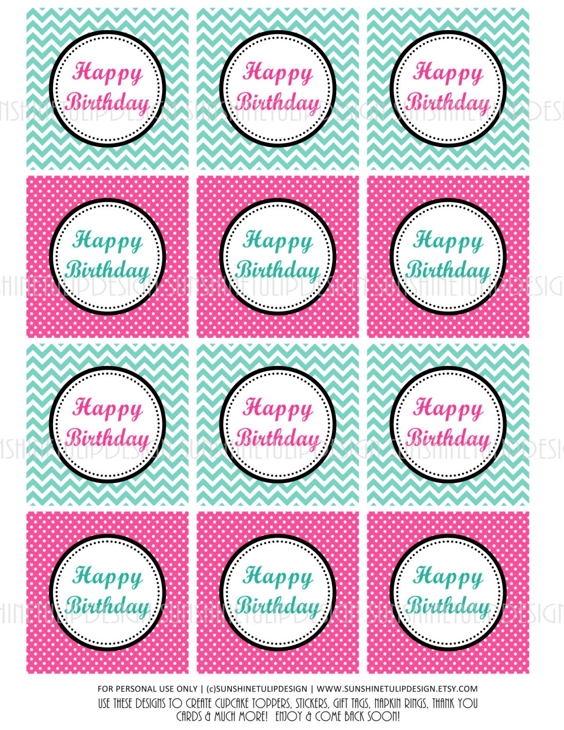 Happy Birthday Hot Pink and Aqua Cupcake Toppers Stickers