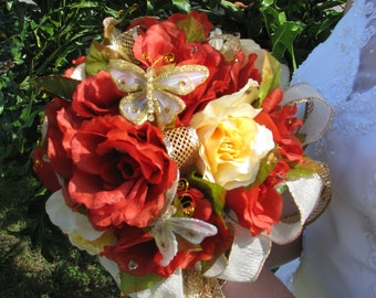 Red and yellow rose bouquet- Golden Princess