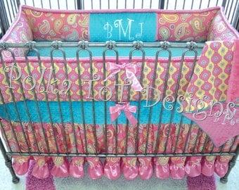 4 Piece Paisley Cotton Candy & Teal  Crib Set