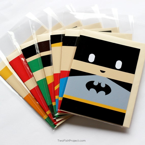 superhero birthday / thank you cards set of  justice league, Birthday card