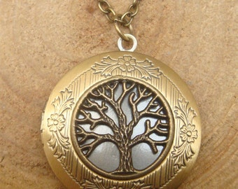 Antique Brass Tree of Life  Locket Necklace Victorian Jewelry Gift Vintage Style